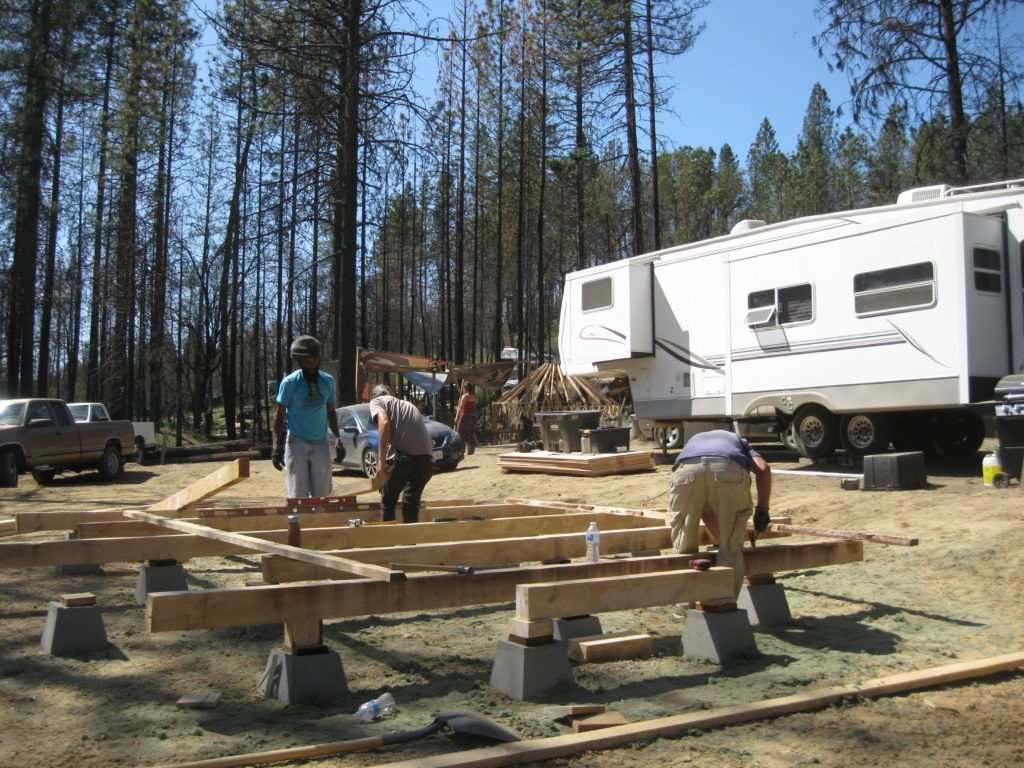 Building yurts and yurt floors at the Camp Fire Recovery Project Yurt Workshop, September 2019
