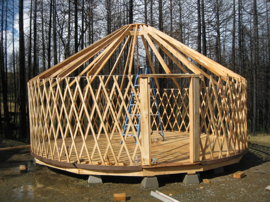 20 foot yurt and floor build at the September 2019 Camp Fire Recovery Project Yurt Workshop